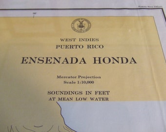 Ensenada Honda, incl Isla Cabras ~ Puerto Rico, W Indies - Detailed nicely with yellow and blue land and shore colors - Nautical Chart #1841