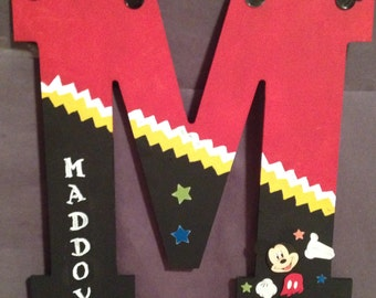 """Mickey Mouse Wooden letter 13"""" can be painted any way you like in the chevron pattern"""