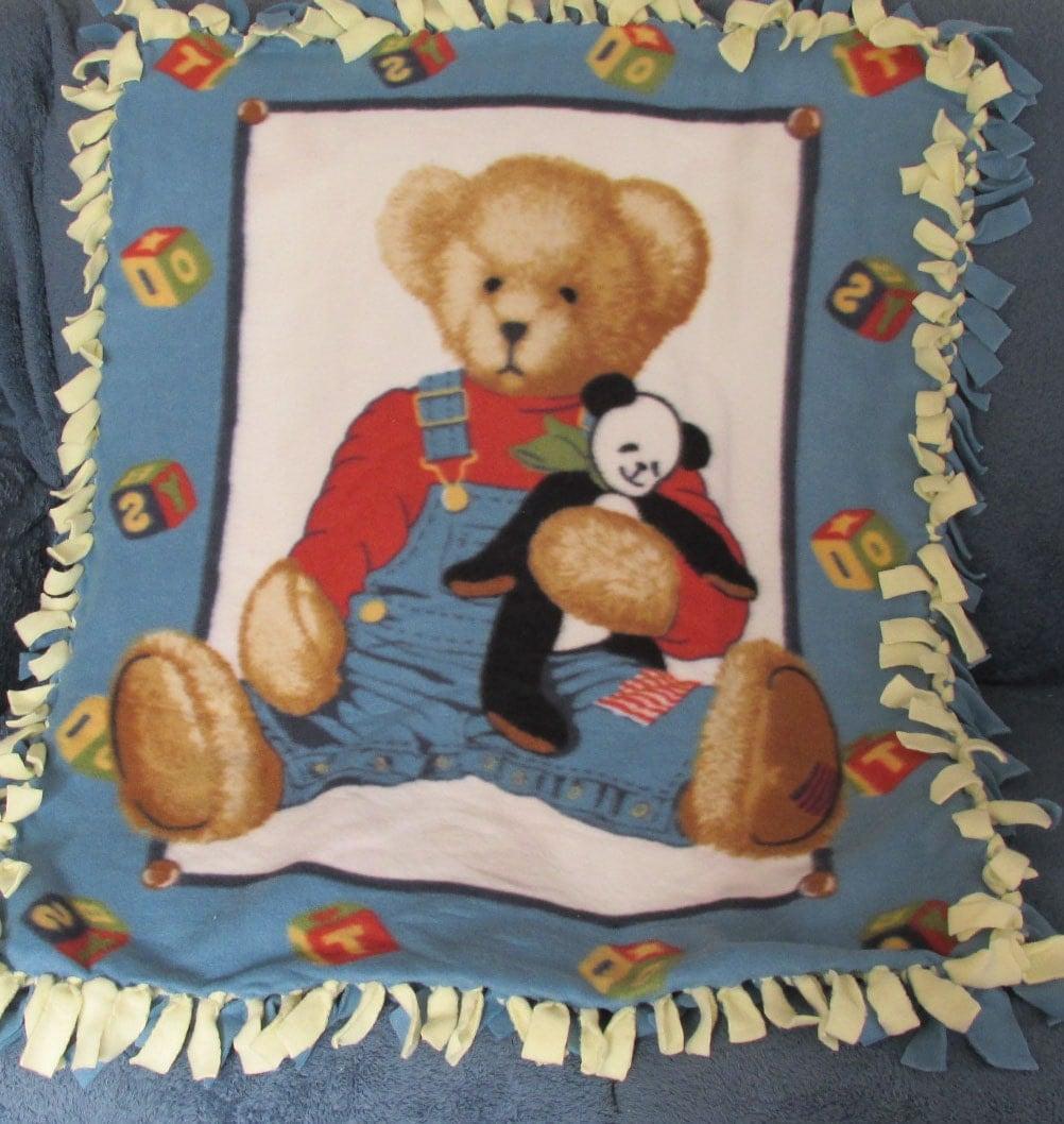Handmade Baby Blanket Throwteddy Bear Print Blue Yellow