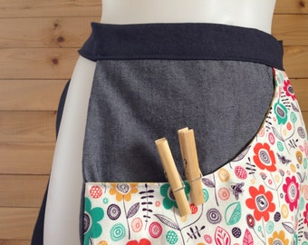 Bag size, style apron, to store hairpins linen (or else!). Made to order, fabric of your choice.