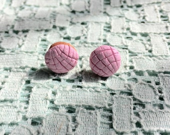 Pink concha earrings Mexican sweet bread pan dulce