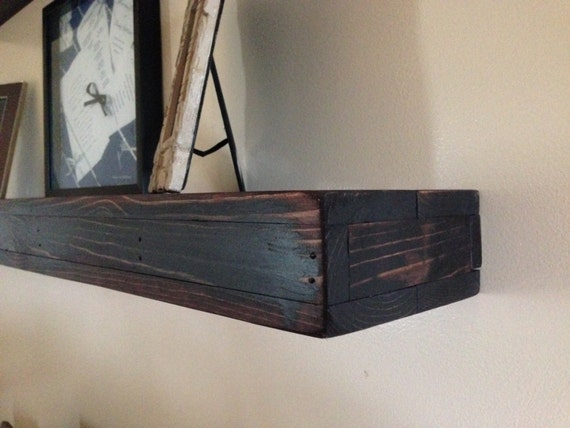 Rustic wood floating wall shelf