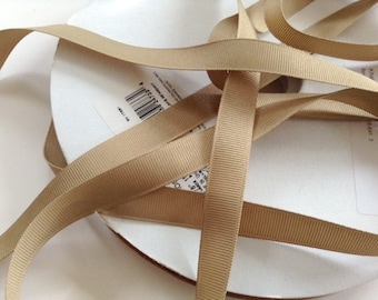 Grosgrain RIBBON - 5/8 Inch x 5 Yards - Khaki Solid