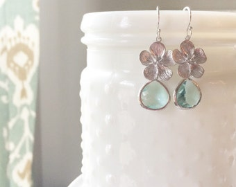 BLOSSOM | Cherry Blossom Earrings Silver | Sea Green Drop Earrings | Silver Flower Dangle Earrings | Sea Green Bridesmaid Earrings Silver