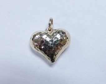 "Vintage 14k Yellow Gold Hammered Heart Pendant 2g 3/4"" Puffy Heart Valentine's Gift"