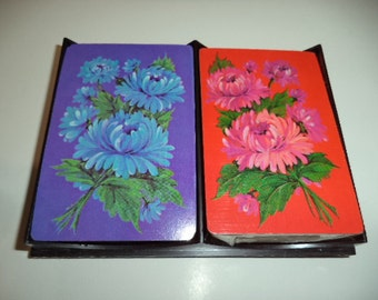 Vintage Duratone Arcco Playing Card Co. Playing Cards Double Deck 1970's Flowers Poker Bridge Euchre