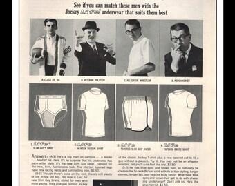 "Vintage Print Ad October 1965 : Jockey Menswear Underwear ""Play The Match Quiz"" Wall Art Decor 8.5"" x 11"" Print Advertisement"