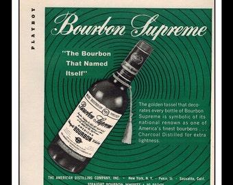 "Vintage Print Ad April 1962 : Bourbon Supreme Whiskey Wall Art Decor 5"" x 5"" Advertisement"