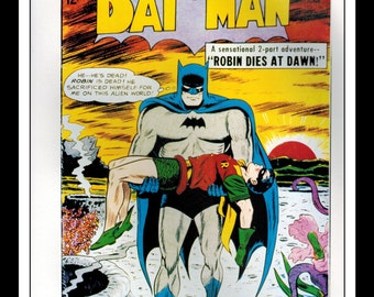 "Vintage Print Ad Comic Book Cover : Batman #156 / Detective Comics #316 Robin Illustration Dbl Sided Wall Art Decor 8"" x 10 3/4"""