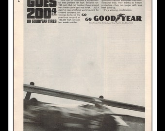 """Vintage Print Ad June 1964 : Goodyear Tires Indy Page Automobile Wall Art Decor 8.5"""" x 11"""" Advertisement"""