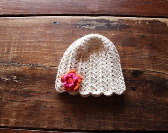 Baby hat for girl handcrafted in Quebec from alpaca fiber