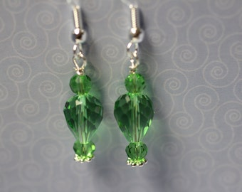 Green Crystals on Sterling Silver Earwires. (S-150039)