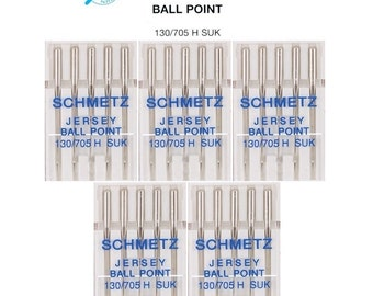 5 Packs Jersey Ball Point Size 12 Schmetz Brand Sewing Machine Needles Type 130/705 H SUK Size 80/12 (25 Total Needles)