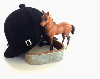 Vintage Equestrian Riding Hat, Helmet, Black Velvet, English Riding Hat