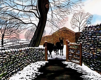 "Art Print: ""Donkeys' first snow"" - A4 donkey print, wall art, donkey painting, donkeys in snow, from an original painting by Liz Clarke"