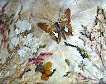Antique Butterfly and Pressed Flower Victorian Tray ~