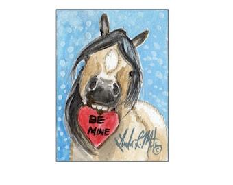 Buckskin Pony Valentines Day llmartin Original ACEO  Watercolor