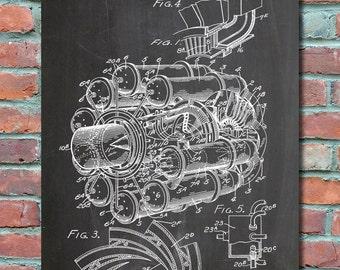 Jet Engine patent 1946 Patent Wall Art Print, Blueprint, Patent Print, Plexity Prints #014