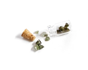 Tiny Green Tourmaline Crystals in Corked Vial | 1 piece
