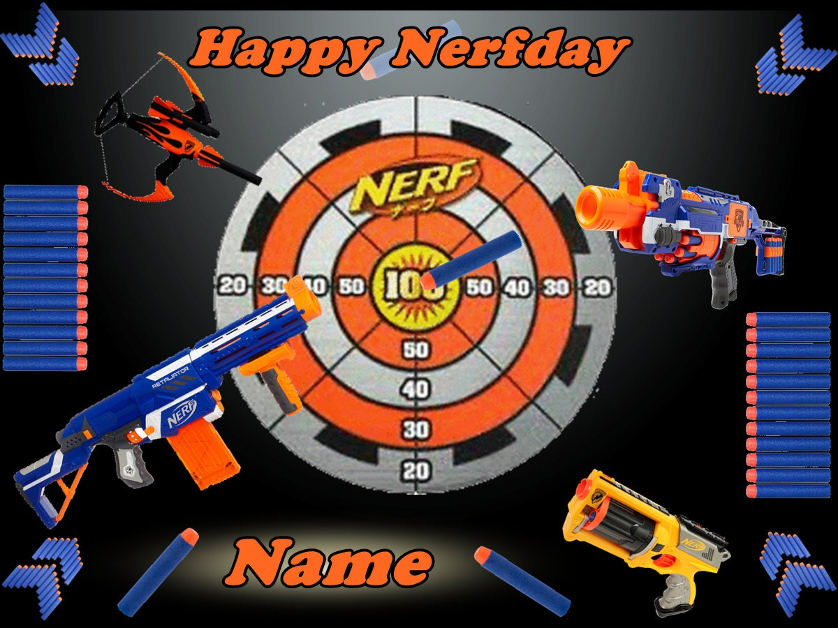 Edible Cake Decorations Target : Nerf Gun Personalized Edible Image Sheet by ...
