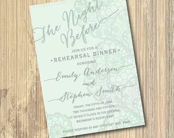 "Rehearsal Dinner Invitation...""The Night Before"" / mint and gray with lace design / digital file / printable / wording can be changed"
