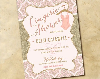Lingerie Shower Invitation printable/Digital File/gold and pink, glitter, bridal shower, lingerie invitation/Wording can be changed
