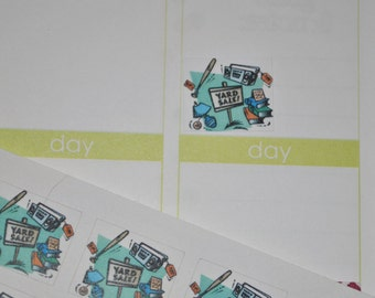 Yard Sale Stickers for Erin Condren Life Planner Plum Paper Planner Garage Sale Flea Market