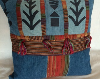 """Decorative pillow 14"""" x 14"""" made from woman's blazer"""