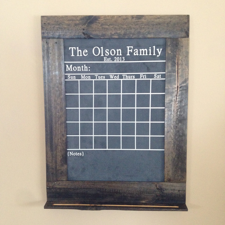 Chalkboard Calendar Framed : Handmade chalkboard calendar framed with reclaimed wood