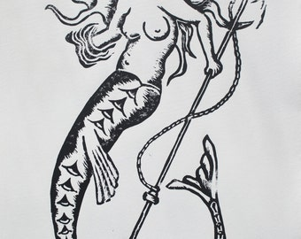 Mermaid Linocut Relief Print - Printmaking Nautical Lino Cut