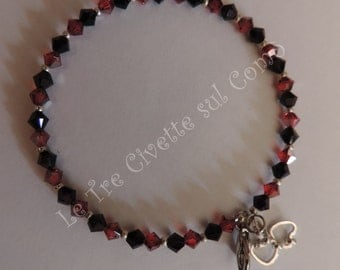 Roulette-bracelet with red and black crystals