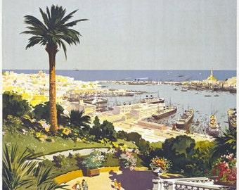 TV67 Vintage 1930's Genoa Italy Italian Riviera Travel Tourism Poster Re-Print Wall Decor A3/A4