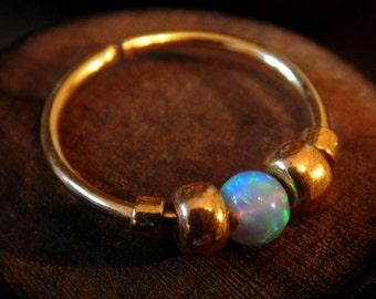 Blue Opal 20 - 22 Gauge Nose Hoop Nose Ring