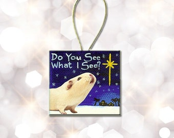 Small Canvas Painting Guinea Pig Ornament