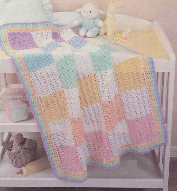 Crochet Baby Shell Blocks Throw Afghan blanket Vintage Pattern