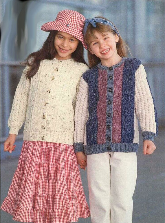 Vintage Aran Cardigan Knitting Pattern : Vintage Knitting Pattern Childrens Cabled Cardigan Size 1-10