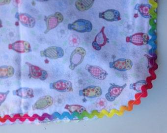 Pastel Owl Print Flannelette Baby Wrap with Multi-coloured Rik Rak Edging