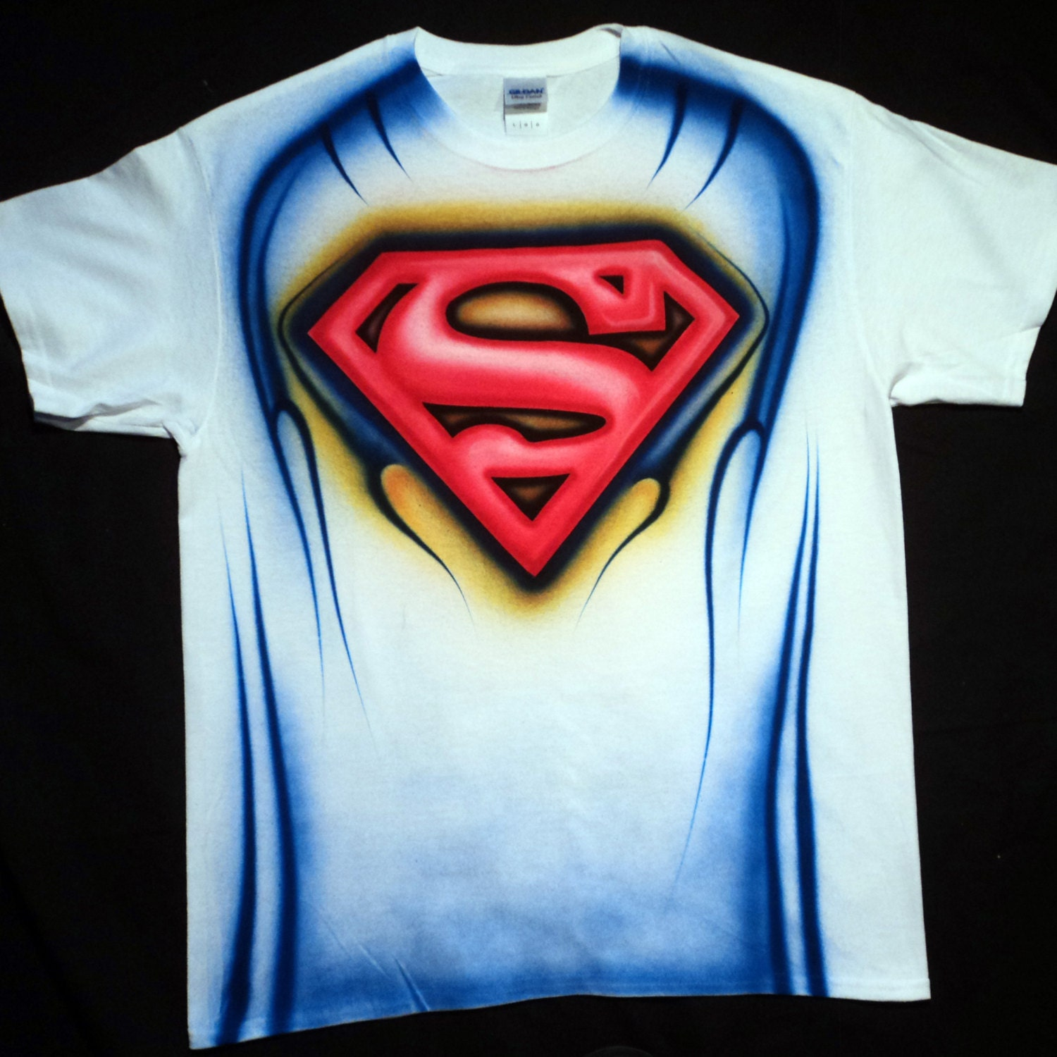 Airbrushed Superman T Shirt Hand Painted Airbrush