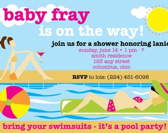 Pool party-themed & summertime 4x6 baby shower invitation