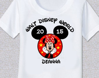Mickey Mouse Ears Minnie or Mickey faces Family Name Disney Vacation or birthday Tshirt Shirt
