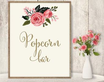 Popcorn Bar // Floral Wedding Popcorn Sign DIY // Watercolor Rose Flower Poster Printable // Gold Calligraphy, Pink Rose ▷ Instant Download