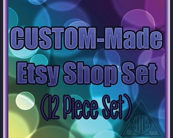 Custom Made Shop Kit 12 Piece Graphic Template Set | Pre-made Banner and Avatar Package | Clean Elegant Simple Make it what you want!