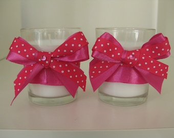 Pink Spotty Bow Candles
