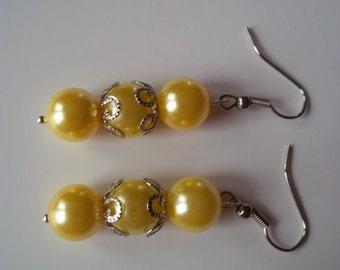 Yellow Beaded Earrings  (#87)