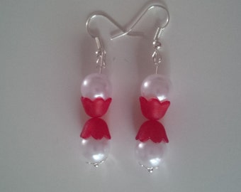 Red and White Beaded Earrings   (#268)