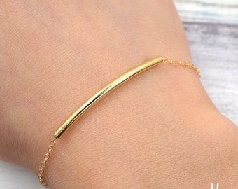 Dainty Curved Gold Tube Bracelet - Delicate gold filled chain,Minimalist jewelry,Simple jewelry for everyday