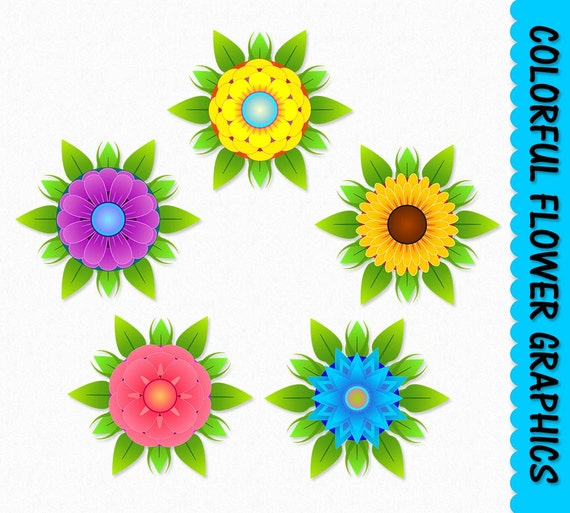 Flowers Clip Art Graphics Flower Clipart Scrapbook Colorful