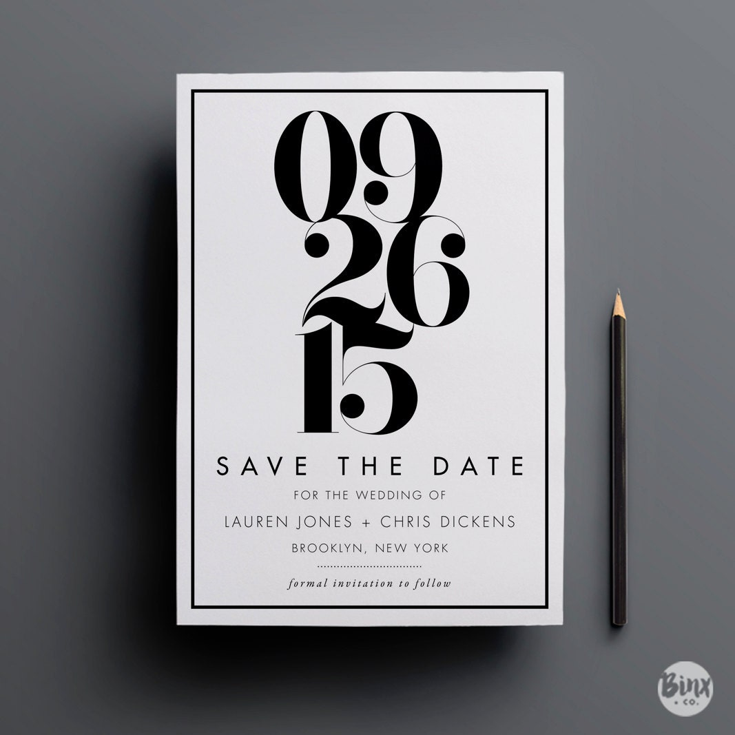 modern save the date printable save the date digital files