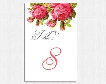 Table Numbers, Vintage flower, vintage table numbers, PRINTABLE table numbers, roses table number, vintage wedding, shabby chic, Elise, rose