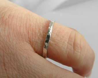 Sterling silver hammered ring, 1.5 mm wide, sterling silver midi ring, hammered midi ring, handmade silver ring